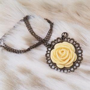 Vintage Celluloid Flower Pendant Necklace
